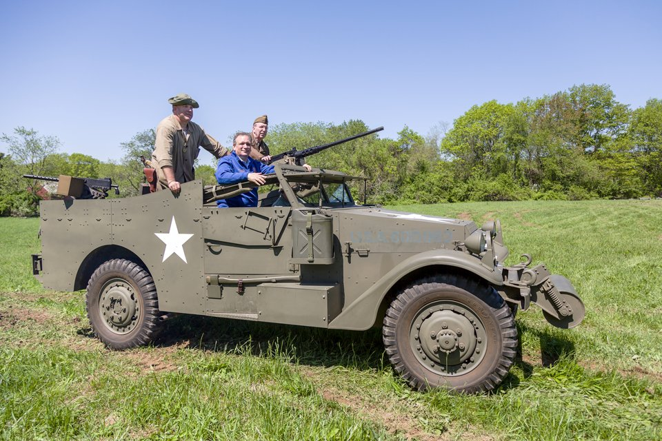 MOAA-WW-2-Encampment with Edward Mangano in a real WWII Scout Car