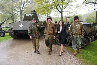 "The armor museum's Eileen Daly-Sapraicone joins WWII living historians during the ""field exercises"" at Old Bethpage Village Restoration."
