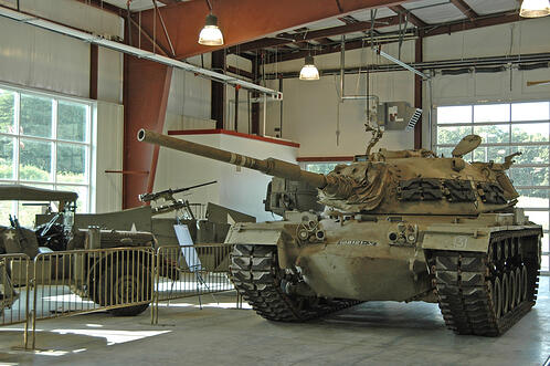 m48 Israeli tank on site in American Museum of Armor warehouse